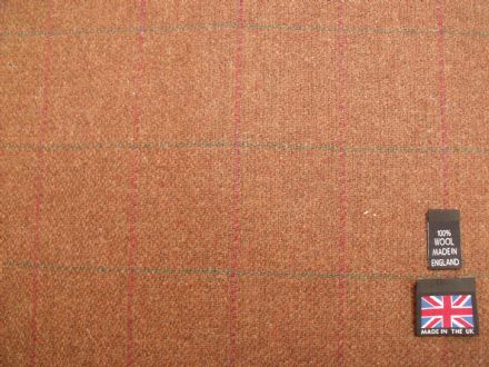 100% Pure New Wool Windowpane Check Tweed BZ36